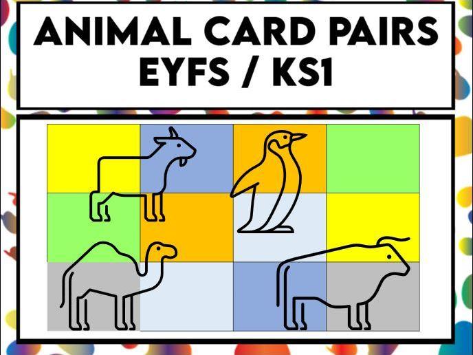 Animal Colour Card Pairs EYFS / KS1