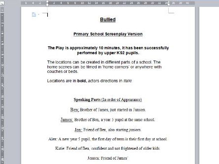 10 Minute Bullying Play, Primary school  Screen Play Script.
