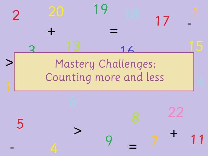 KS1 Maths More and Less Mastery Challenges