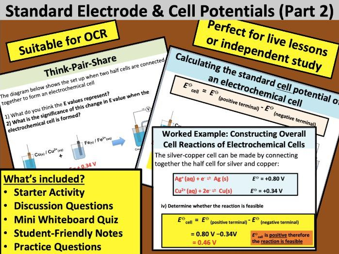 Standard Electrode & Cell Potentials (Part 2)
