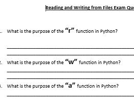 GCSE Python Progress Checks/ Exam Questions/ Activities/ HW