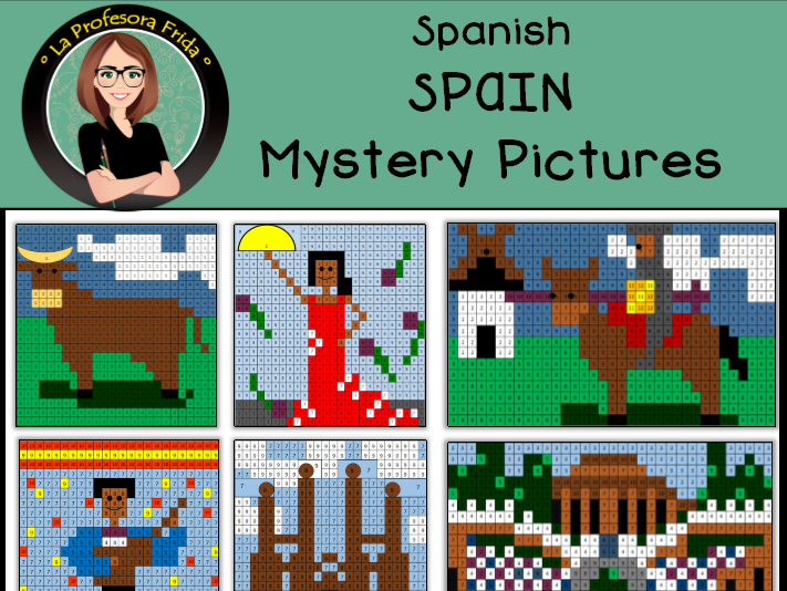 Spain and Spanish Icons, Color By Number / Grid / Spanish Colors and Numbers