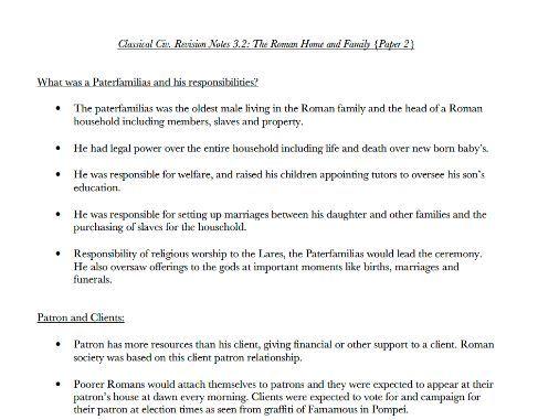 Culture 3.2 Roman Home+Family (Roman City Life)  - Notes Classical Civilisation OCR GCSE Revision