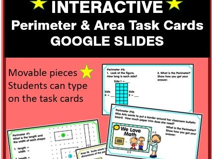 INTERACTIVE Google Slides - Perimeter & Area Task Cards - Distance Learning