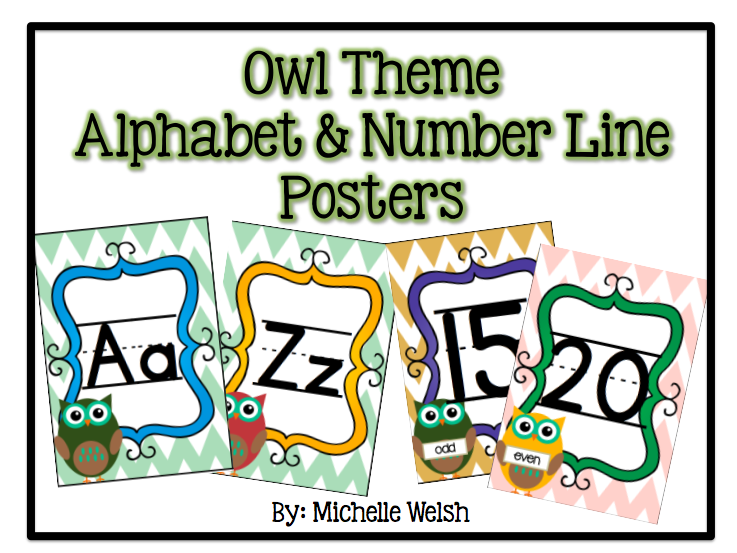 Owl Theme Alphabet & Number line