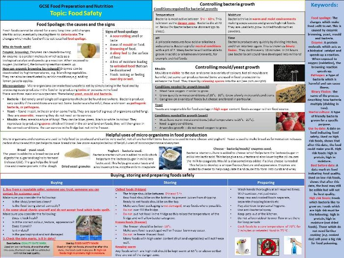 Food Safety Knowledge Organiser - Food Preparation and Nutrition