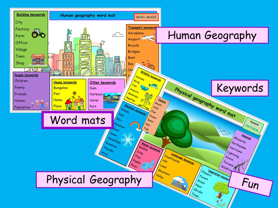 WORD MATS Human and physical geography - vibrant literacy -2 resources colourful ks1 ks2 ks3 *