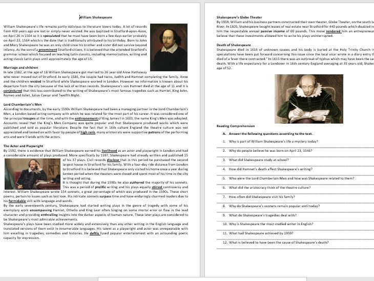 William Shakespeare - His life and work - Reading Comprehension and Vocabulary Worksheet