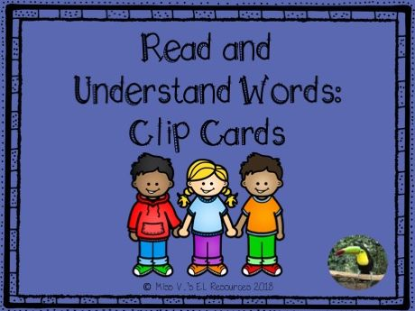Vocabulary clip cards for English learners