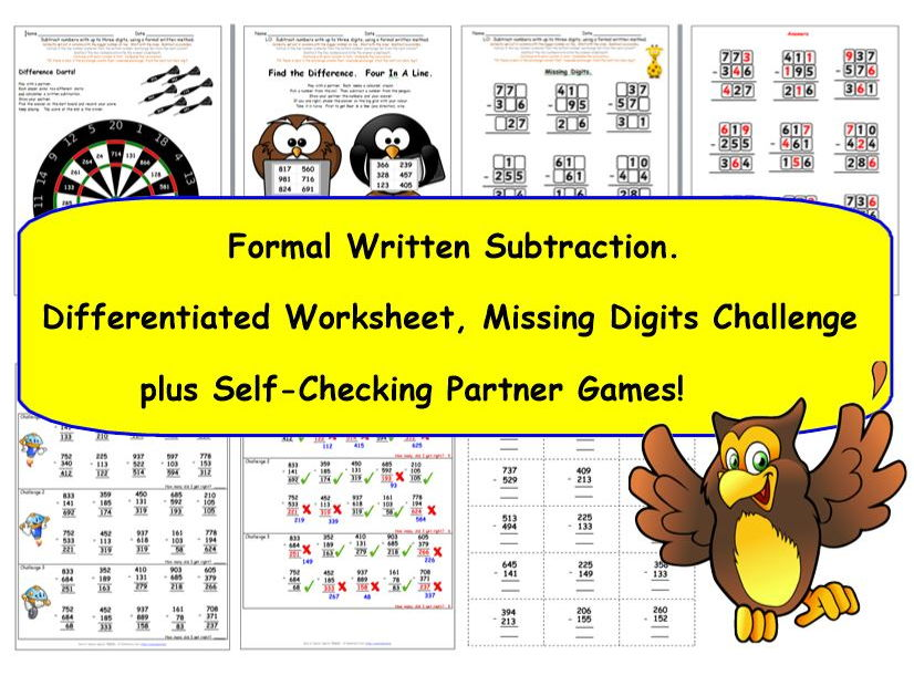 ks2 y3 formal written subtraction of 3 digit numbers worksheets self checking games. Black Bedroom Furniture Sets. Home Design Ideas