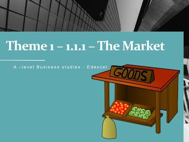 1.1.1 - Markets / Edexcel  A-level Business  Powerpoint (Lesson)