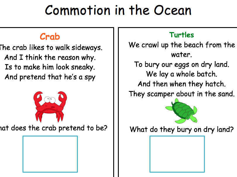 Commotion in the Ocean Autism work book