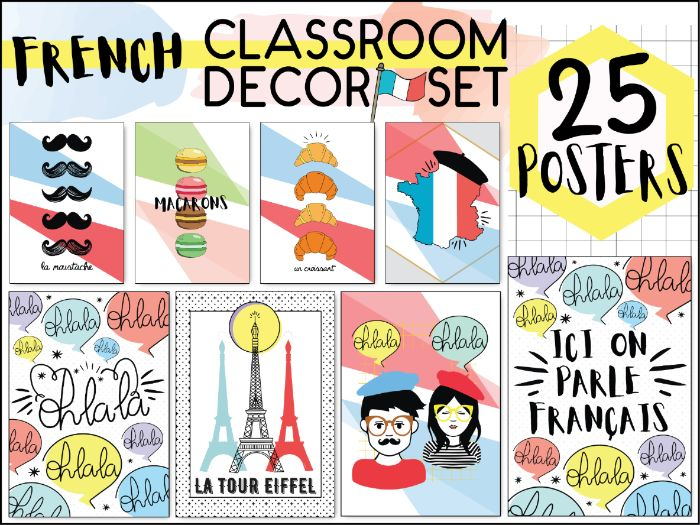 FRENCH CLASSROOM DECOR SET - 25 POSTERS - PRINTABLE DISPLAY