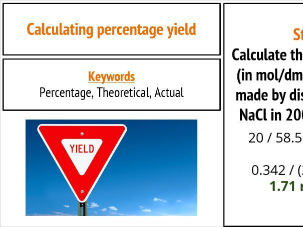 AQA Chemistry Percentage Yield New GCSE
