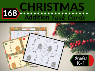 Christmas Math Task Cards-Addition of Three Single Digit Numbers