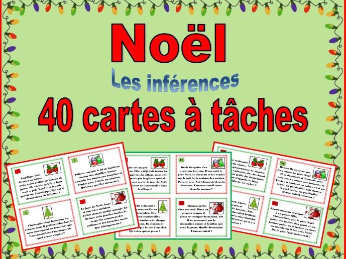 French Christmas Vocabulary Inference Task Cards