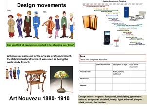 Design movements. arts and crafts, art nouveau, bauhaus.