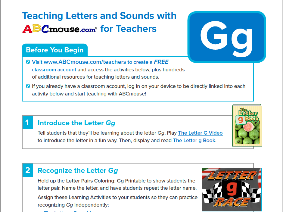 Teaching the Letter Gg with ABCmouse