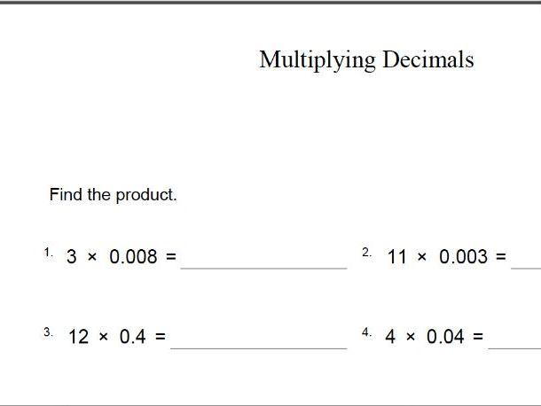 TES MATHS  worksheet – multiplying decimals