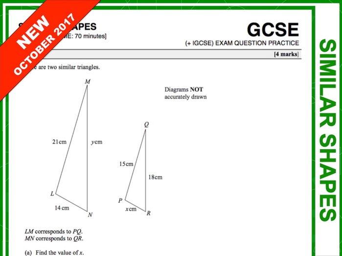 GCSE 9-1 Exam Question Practice (Similar Shapes)