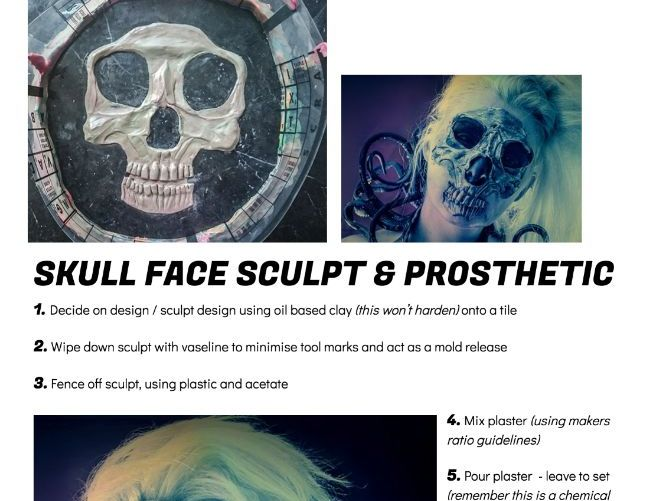 Btec UAL Level 3 Production Arts - Make up - Prosthetics Process ideas handout & Design activity