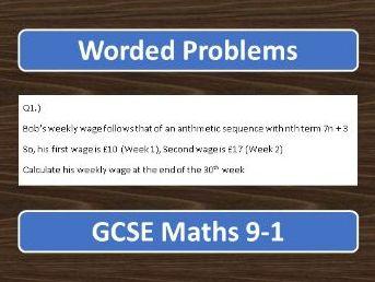 GCSE Maths 9-1 Worded Problems