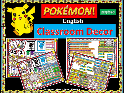 Pokemon POKÉMON Classroom Decor Mega BUNDLE Englsih Bilingual Stars Mrs. Partida