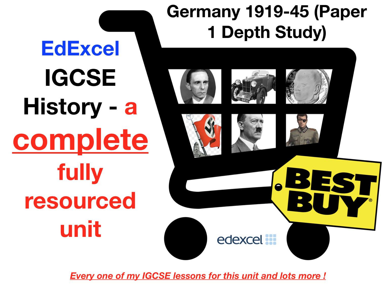 EdExcel IGCSE History - Germany 1918-45 Full Unit Paper 1 Depth Study Bundle (with Revision Menu)