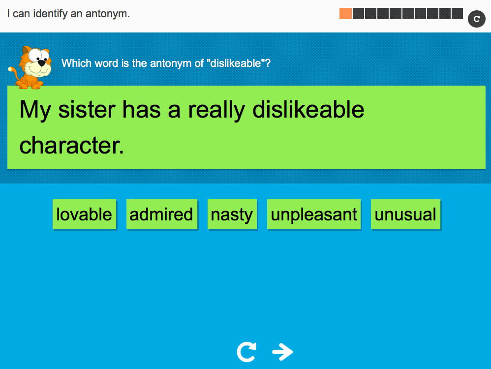 I can identify an antonym - Interactive Activity - Year 6 Spag