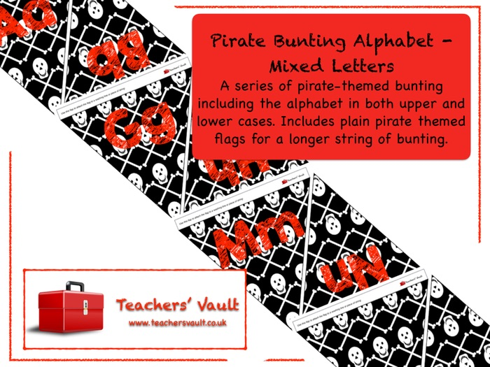 Pirate Bunting Alphabet - Mixed Letters