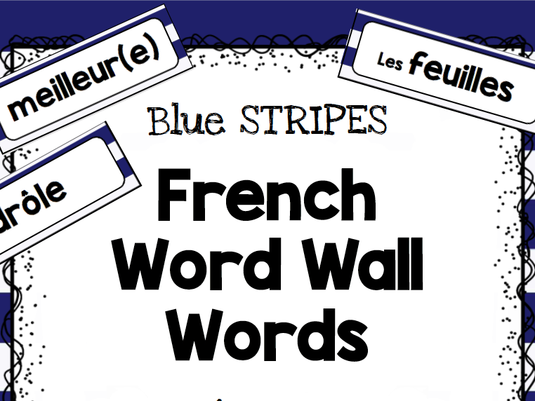 French Word Wall - Stripes and Anchors