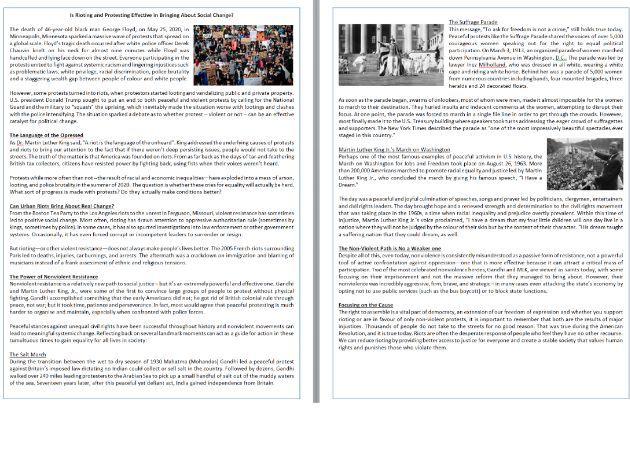 Do Protests Work?  -  Reading Comprehension Text / Black Lives Matter