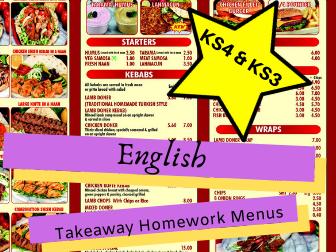 English Literature Texts KS3/KS4 Homework Takeaway Menus