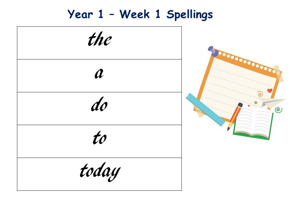 Common Exception Words Spelling Lists for Year 1