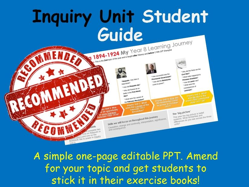 Inquiry Unit Student Learning Journey Template