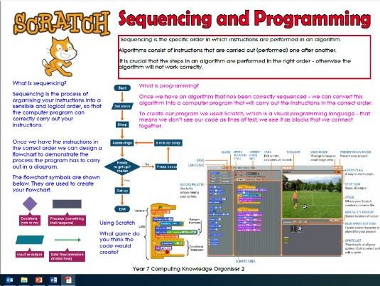 Knowledge Organiser Sequencing and Programming  using Scratch