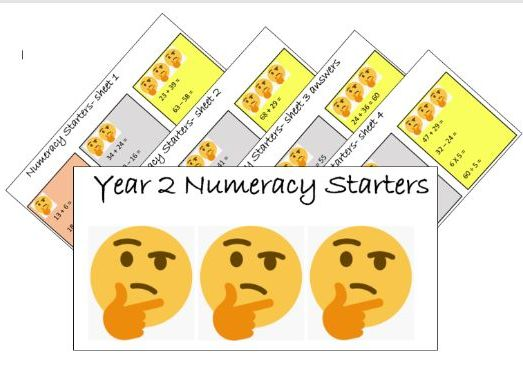 40 arithmetic maths starters morning work SATs practise year 2 KS1 with answers differentiated