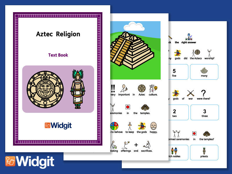 Aztec Religion - History Book and Activities with Widgit Symbols