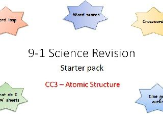 C3 Atomic structure Revision starter pack Science 9-1