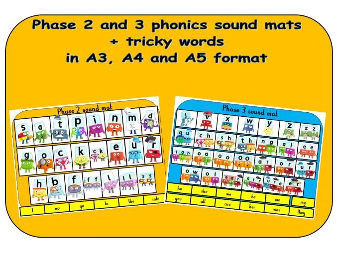 Phase 2 and 3 phonics sound mats - Alphablocks in A3, A4 and A5 format