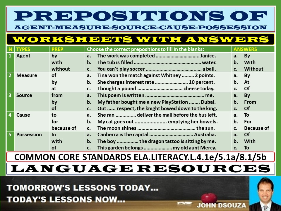 PREPOSITIONS OF AGENT MEASURE SOURCE POSSESSION CAUSE WORKSHEETS WITH ANSWERS