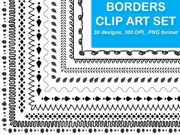 30 Borders Clip Art {Doodle & Geometric Set 4}