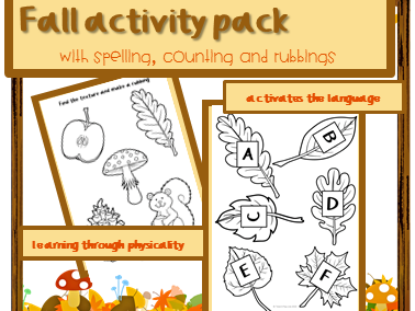 Autumn activity for infants ESL: spelling and counting