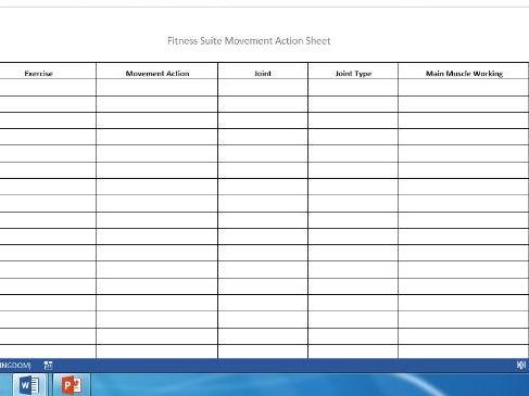 Edexcel New GCSE PE 9-1. Musculo-skeletal system movement action sheet.