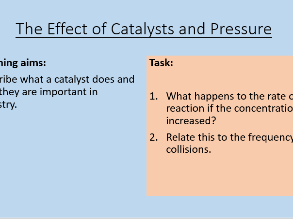 AQA C8.5 The Effect of Catalysts
