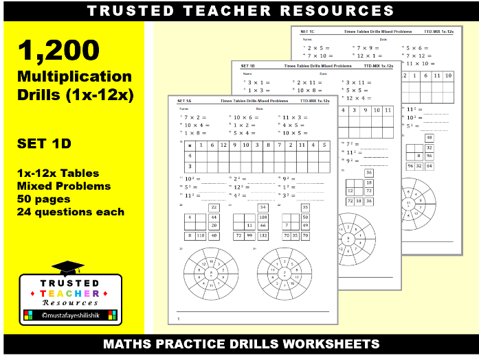 1200 Times Tables Drills - Mixed Problems 1x-12x (SET 1D)
