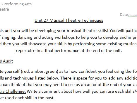 Unit 27 Musical Theatre Skills Audit