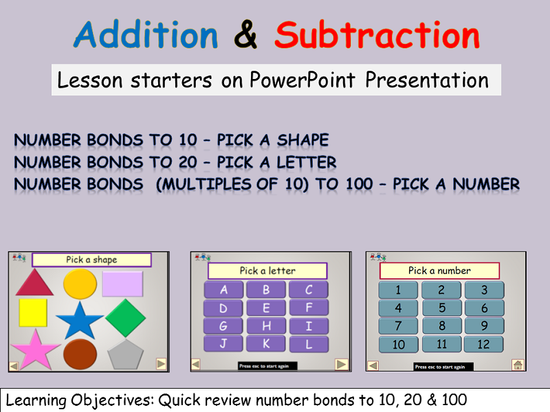 5 -10 mins Lesson Starters: Addition/Subtraction Number Bonds to 10, 20  Multiples of 10 to  100