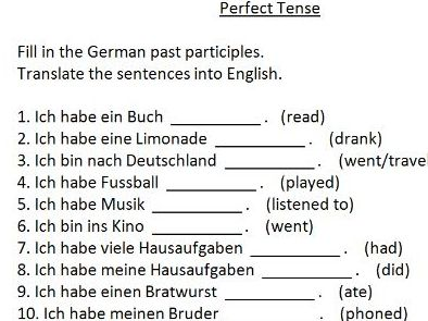 quick German perfect tense starter task