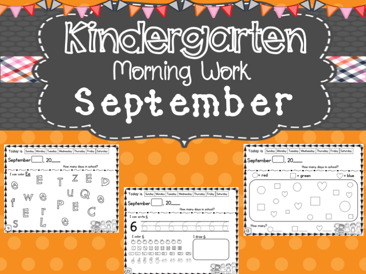 Kindergarten Morning Work (September)